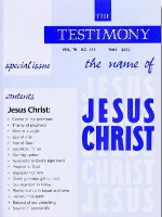 Cover of the special issue entitled The Name of Jesus Christ